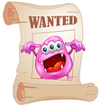 A pink monster in a wanted poster vector image vector image
