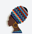 african woman in scarf and earrings in profile vector image vector image