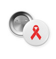 aids awareness red ribbon on the circle button vector image vector image
