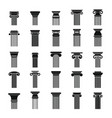 ancient columns icons set simple style vector image