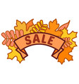autumn sale sign on ribbon with yellow and orange vector image vector image
