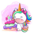 birthday card with cute unicorn vector image