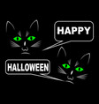 black cats on black background wishing happy vector image vector image