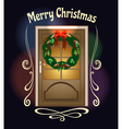 Christmas Welcome Wreath on front door vector image