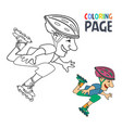 coloring page with roller skates player cartoon vector image vector image
