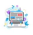 content marketing blogging and smm concept vector image vector image