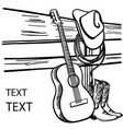 country music poster acoustic guitar and cowboy vector image