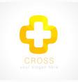 cross orange logo vector image