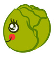cute cabbage on white background vector image vector image