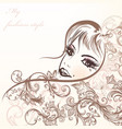 cute girls face with swirls sketch style vector image