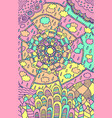 doodle mandala pattern - psychedelic cartoon art vector image
