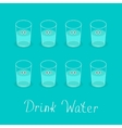 Drink 8 glasses of water Cute face with eyes vector image vector image