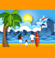 family travel in paper art vector image vector image