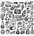 Fast food doodles set vector image