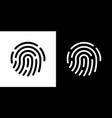 fingerprint icon simple on black and white vector image