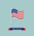 flag and ribbon on the day of americas veterans vector image vector image