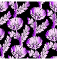 Garden flowers on black Seamless hand-painted soft vector image