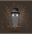 gift postcard with cartoon animal owl in the vector image