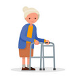 grandmother walking with a walker vector image