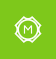 green white m initial letter in frame vector image vector image