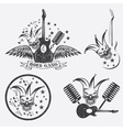 grunge rock gang set with jester skullwings and vector image vector image