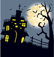 Halloween night background with castle and pumpkin vector image vector image