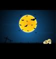 halloween skull graveyard cross moon bat vector image vector image