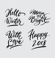 hello winter and happy new year handwriting callig vector image vector image