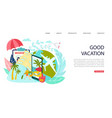 hot travel tour good vacation inscription vector image vector image