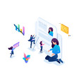 isometric girl makes a resume job seeker concept vector image vector image