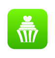 love cupcake icon digital green vector image vector image