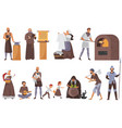 medieval people set cartoon vector image vector image