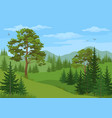 mountain landscape with trees vector image vector image