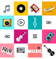 music icons on retro squares background vector image