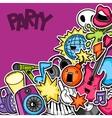 Music party kawaii seamless pattern Musical vector image vector image