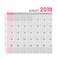 practical light-colored planner 2019 august vector image vector image