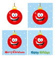red christmas ball cartoon character collection vector image vector image