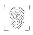 scan of fingerprint line icon vector image vector image