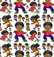 Seamless background with African American kids vector image vector image