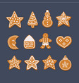 set christmas gingerbread vector image