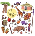set of tourist attractions Africa vector image