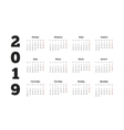 Simple calendar on 2019 year in russian language vector image