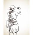 sketch woman taking photo with compact camera hand vector image vector image