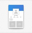 social network mobile app profile template vector image