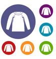 sports jacket icons set vector image