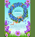 spring greeting card wishes and flowers vector image vector image