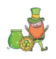 st patricks day leprechaun with treasure cauldron vector image