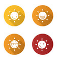 sun smiles flat design long shadow glyph icons set vector image