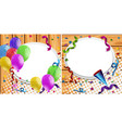 two backgrounds with balloons and party ribbons vector image vector image