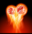 two red dice in fire vector image
